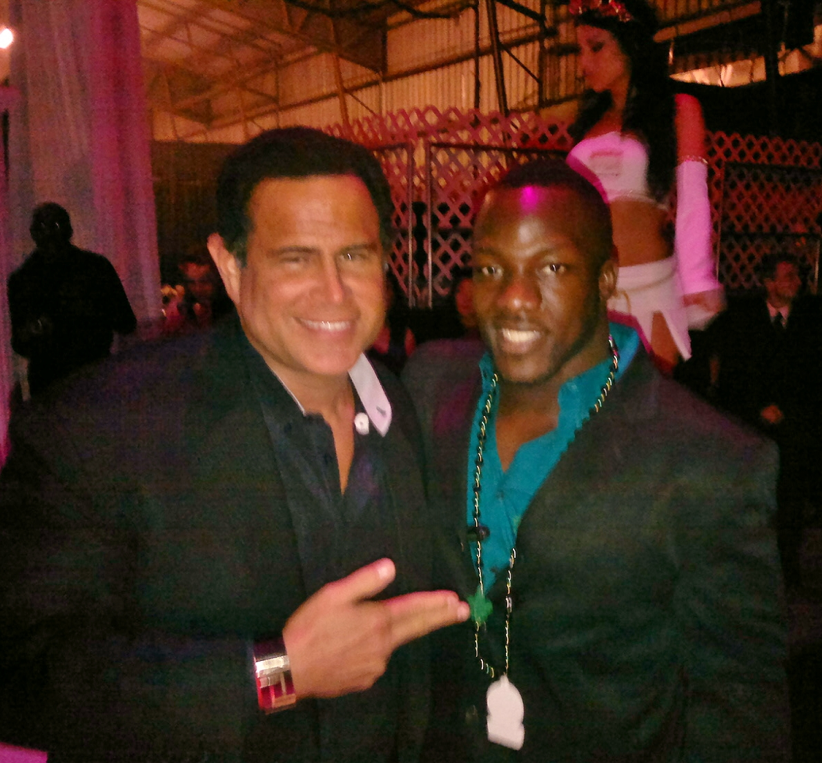 Keith Middlebrook and Rennie Currenattend the Maxim, Leather & Laces, Super Bowl Charity Benefits.
