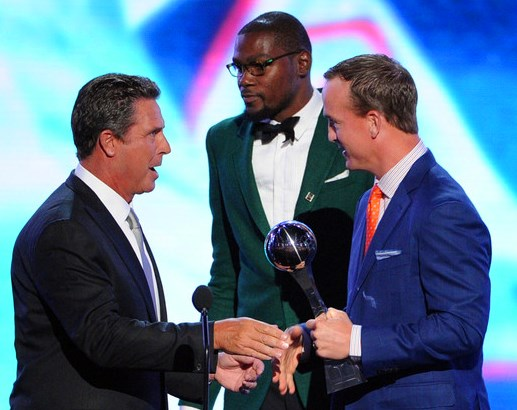 peyton manning, espn, nfl, nba, kevin durant, dan marino. keith middlebrook pro sports fico 911, espy awards 2014.