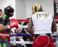 Floyd Mayweather takes down sparring partner during training. – Keith Middlebrook