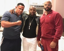 """Keith Middlebrook, Floyd Mayweather & S at the """"Black Panther Penthouse"""" in LA."""
